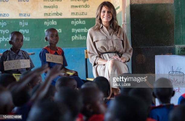 US First Lady Melania Trump visits Chipala Primary School in Lilongwe on October 4 2018 during a 1day visit in Malawi part of her week long trip to...