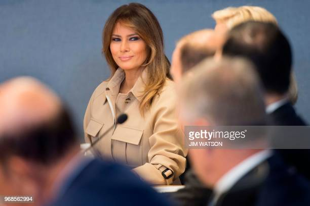 First Lady Melania Trump visits Federal Emergency Management Agency Headquarters and attends a 2018 Hurricane Briefing in Washington, DC, on June 6,...