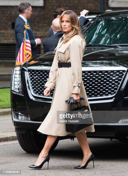 First Lady Melania Trump visits Number 10 Downing Street during the second day of US President Donald Trump's state visit on June 04, 2019 in London,...