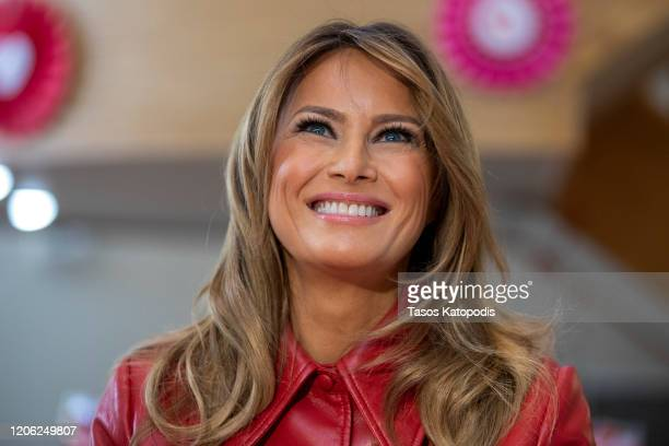 First Lady Melania Trump visits the Children's Inn at National Institutes of Health on Valentine's Day on on February 14 2020 in Bethesda Maryland