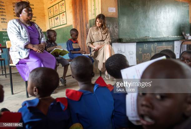 US First Lady Melania Trump visits the Chipala Primary School in Lilongwe with head teacher Maureen Masion on October 4 2018 during a 1day visit in...