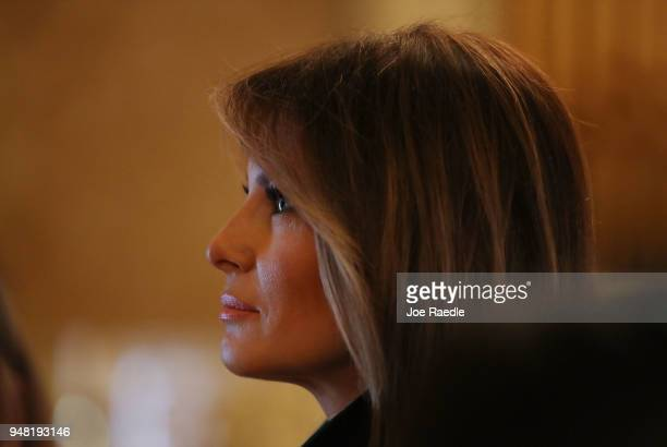 S first lady Melania Trump visits the Flagler museum with Japan's first lady Akie Abe on April 18 2018 in Palm Beach Florida The first ladies...