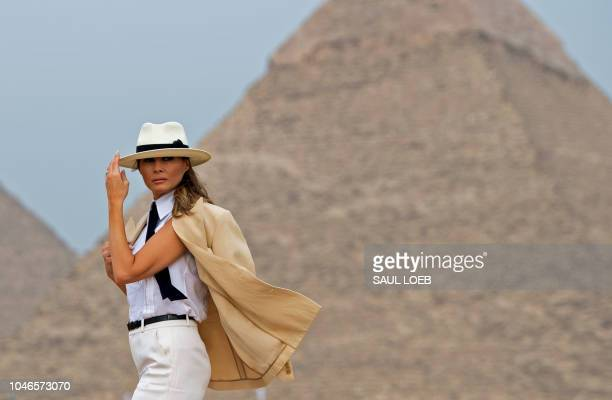 First Lady Melania Trump visits the Giza Pyramids on October 6 during the final stop of her weeklong trip through four countries in Africa