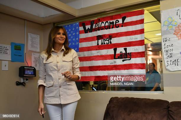 First Lady Melania Trump visits the Luthern Social Services of the South's Upbring New Hope Children Center in McAllen Texas on June 21 2018 First...