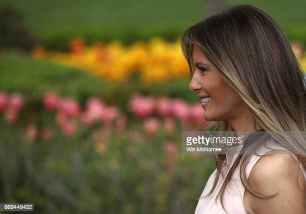 S first lady Melania Trump walks to a reading session for children where she read from the book ÒParty AnimalsÓ during the 139th Easter Egg Roll on...