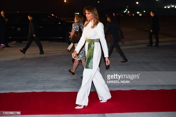US First Lady Melania Trump walks to a waiting car upon arrival at Palam Air Force Base in New Delhi on February 24 2020