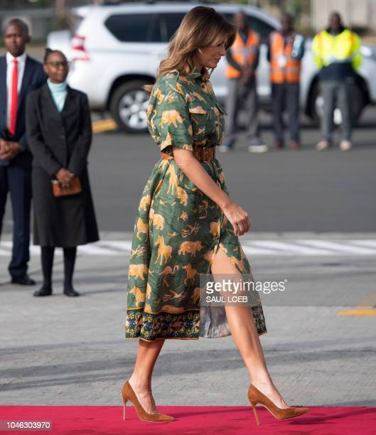 US First Lady Melania Trump walks to board her military airplane prior to departing from Jomo Kenyatta International Airport in Nairobi October 6 as...