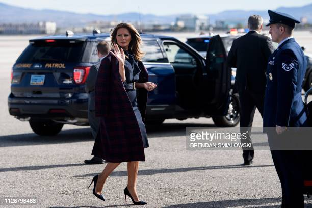 TOPSHOT US first lady Melania Trump walks to boards her plane at McCarran International Airport in Las Vegas Nevada on March 5 2019