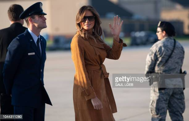 First Lady Melania Trump walks to her military airplane prior to departing from Joint Base Andrews in Maryland October 1 as she travels on a weeklong...
