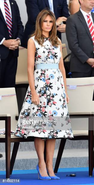 First Lady Melania Trump watches the annual Bastille Day military parade along Avenue des Champs-Elysees in Paris, France on July 14, 2017. Bastille...