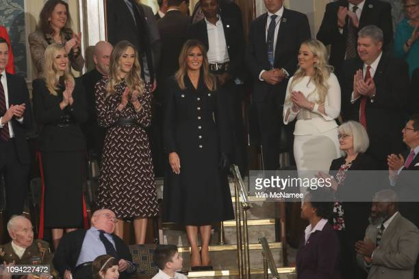 First lady Melania Trump with Ivanka Trump Lara Trump and Tiffany Trump ttend the State of the Union address in the chamber of the US House of...