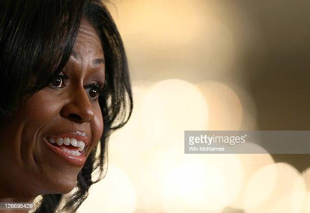First lady Michele Obama speaks at a White House event on the importance of supporting and retaining women and girls in science, technology,...
