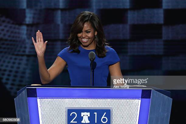 First lady Michelle Obama acknowledges the crowd after delivering remarks on the first day of the Democratic National Convention at the Wells Fargo...
