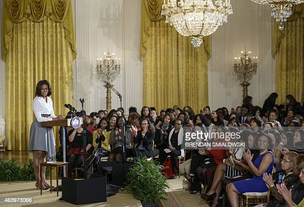 US First Lady Michelle Obama addresses an event honoring Black History Month February 20 2015 in the East Room of the White House on in Washington DC...