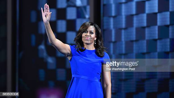 First Lady Michelle Obama addresses the Democratic National Convention in Philadelphia on Monday July 25 2016