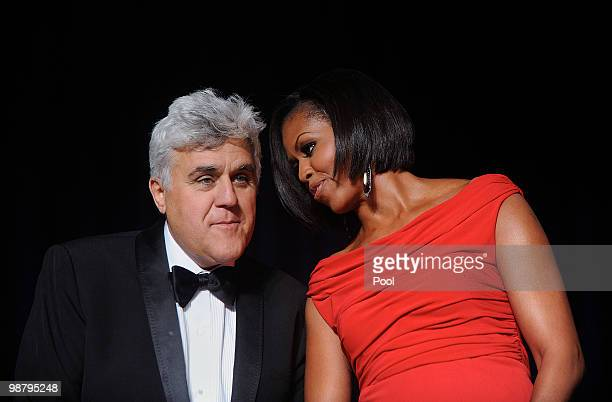 First Lady Michelle Obama and comedian Jay Leno attend the White House Correspondents' Association Dinner at the Washington Hilton May 1 2010 in...
