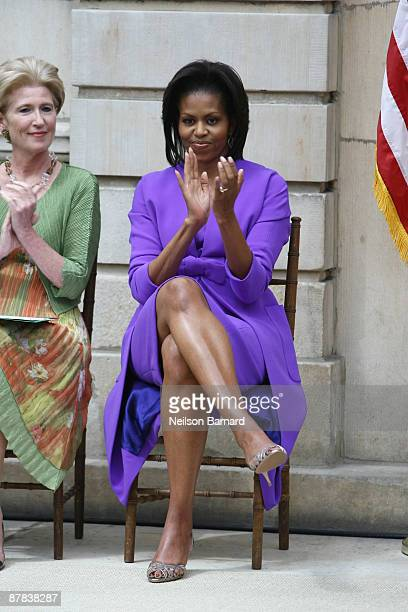 First lady Michelle Obama and Emily K Rafferty President of the Metropolitan Museum of Art attend the ribbon cutting ceremony to officially reopen...