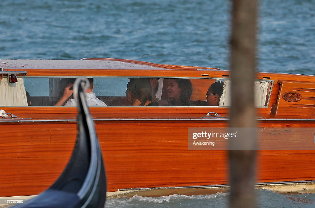 First Lady Michelle Obama and her daughters sit on the back of a Police boat leading to the Doge Palace on June 19, 2015 in Venice, Italy. Michelle Obama has travelled to Italy where she is expected to speak about her 'Let's Move' initiative to combat childhood obesity.
