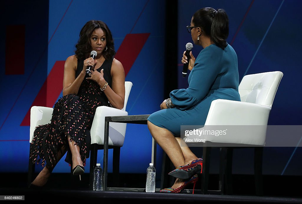 U.S. first lady Michelle Obama (L) and Oprah Winfrey (R) participate in a conversation on 'Trailblazing the Path for the Next Generation of Women' during the White House Summit on the United State Of Women June 14, 2016 in Washington, DC. The White House hosts the first ever summit to push for gender equality.