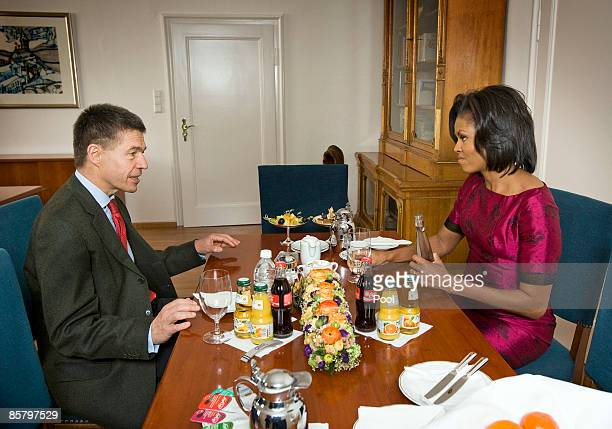 US First Lady Michelle Obama and Prof Joachim Sauer chat during the NATO summit at the Kurhaus on April 3 2009 in Baden Baden Germany Heads of state...