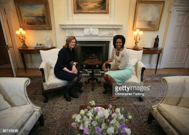 First lady Michelle Obama and Sarah Brown talks inside 10 Downing Street on April 1 2009 in London England US President Obama is on his first trip to...