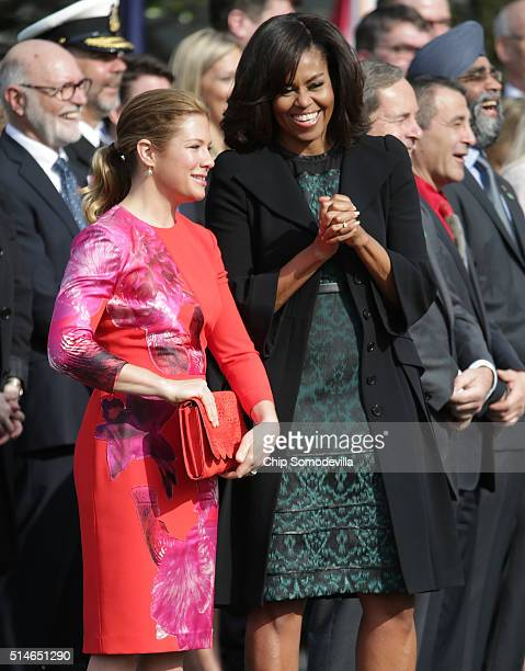 S first lady Michelle Obama and Sophie GrégoireTrudeau attend an arrival ceremony for Canadian Prime Minister Justin Trudeau at the White House March...