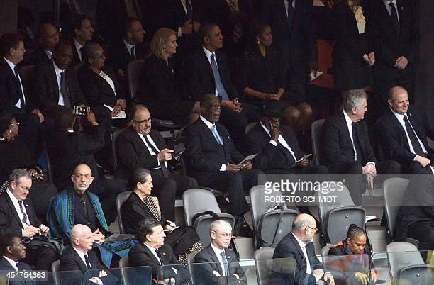 US First Lady Michelle Obama and US President Barack Obama and world leaders attend the memorial service of South African former president Nelson...