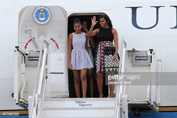 First Lady Michelle Obama arrives with daughters Malia Obama and Sasha Obama at Malpensa Airport at Malpensa Airport on June 17 2015 in Milan Italy