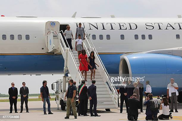 First Lady Michelle Obama arrives with daughters Malia Obama and behind Sasha Obama on June 19 2015 in Venice Italy Michelle Obama has travelled to...
