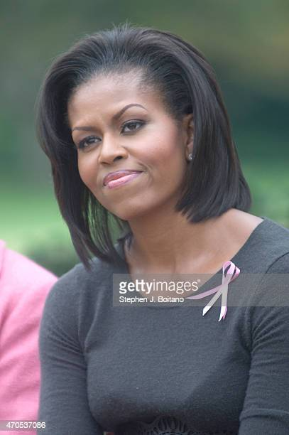 S First Lady Michelle Obama attends a breast cancer awareness event in the East Garden also know as the Jackie Kennedy garden at the White House in...