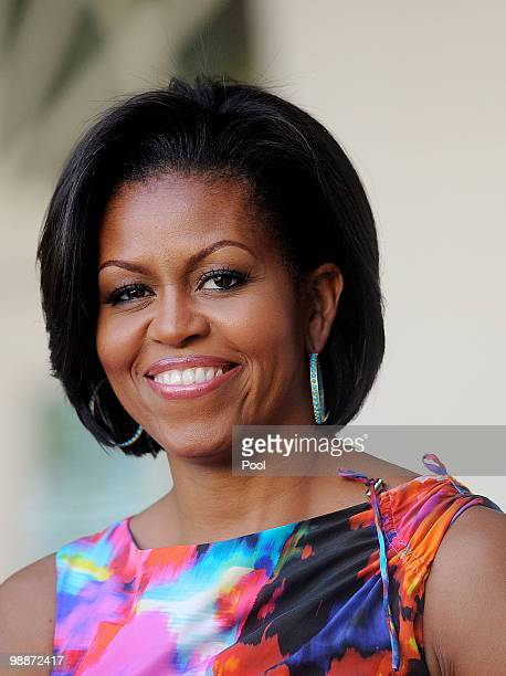 First Lady Michelle Obama attends a Cinco de Mayo reception May 5 2010 in the Rose Garden of the White House in Washington DC Cinco de Mayo May Fifth...