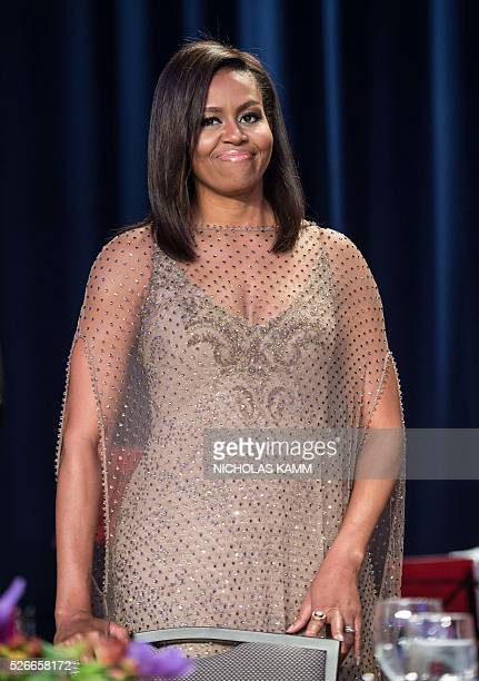 US First Lady Michelle Obama attends the 102nd White House Correspondents' Association Dinner in Washington DC on April 30 2016 / AFP / NICHOLAS KAMM