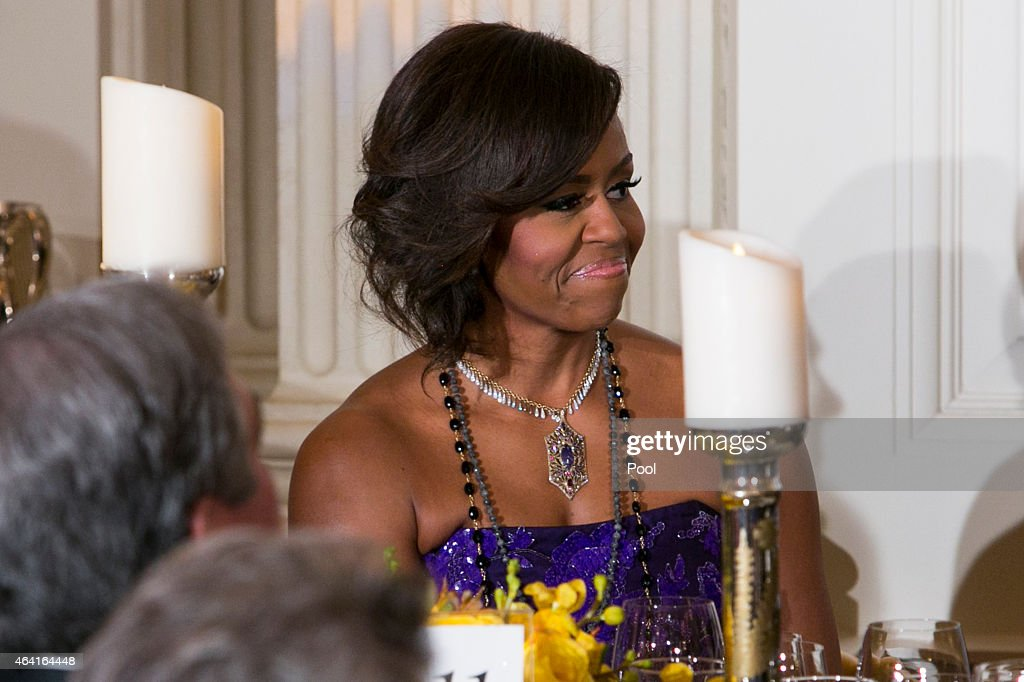 U.S. first lady Michelle Obama attends the 2015 Governors Dinner in the State Dining Room of the White House February 22, 2015 in Washington, DC.