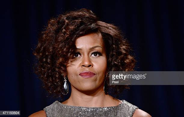 First Lady Michelle Obama attends the annual White House Correspondent's Association Gala at the Washington Hilton hotel April 25 2015 in Washington...