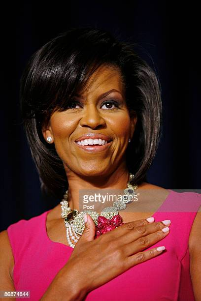 First lady Michelle Obama attends the annual White House Correspondents' Association gala dinner May 9, 2009 at the Washington Hilton Hotel,...