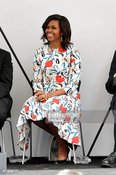 First Lady Michelle Obama attends the Whitney Museum Of American Art Ribbon Cutting Ceremony at The Whitney Museum of American Art on April 30 2015...