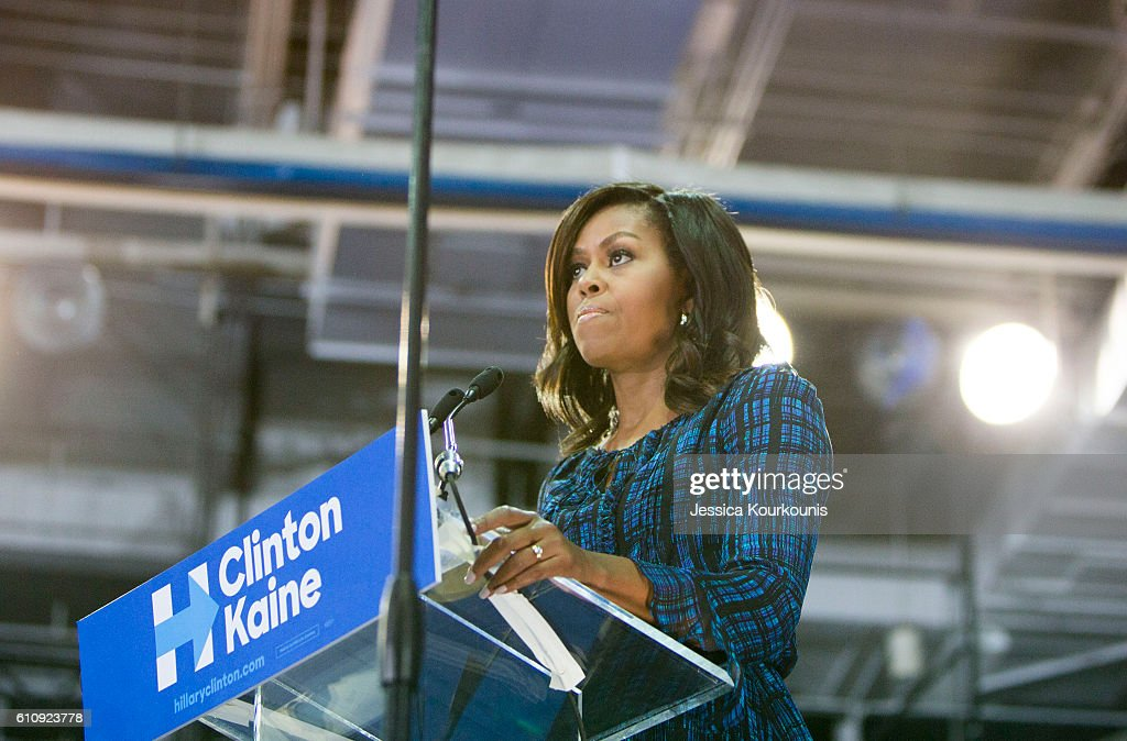 Michelle Obama Campaigns For Hillary Clinton In Philadelphia : News Photo
