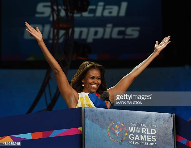 US First Lady Michelle Obama declares the 2015 Special Olympics World Games open July 25 2015 at the Los Angeles Memorial Coliseum in Los Angeles...