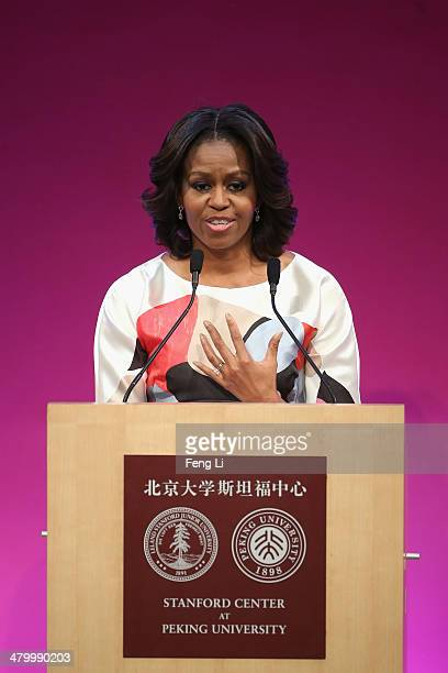 S First Lady Michelle Obama delivers a speech at the Stanford Center at Peking University on March 21 2014 in Beijing China Michelle Obama's...
