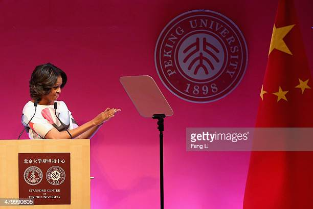 S First Lady Michelle Obama delivers a speech at the Stanford Center at Peking University on March 22 2014 in Beijing China Michelle Obama's...