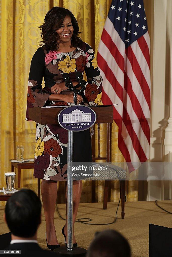 Michelle Obama Addresses White House's Veterans Homelessness Summit : News Photo