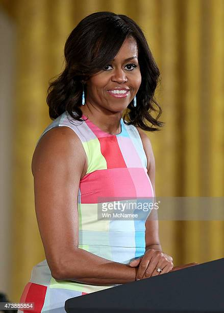 S first lady Michelle Obama delivers remarks during an event in the East Room of the White House May 18 2015 in Washington DC Obama presented the...