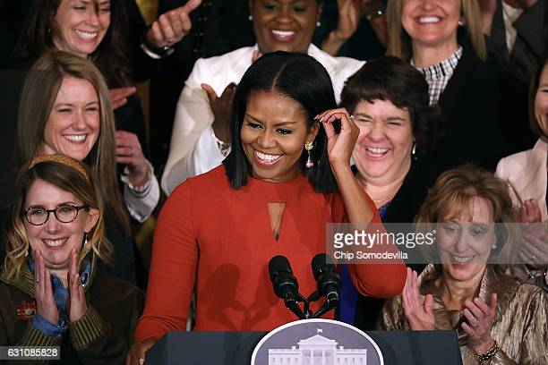 S first lady Michelle Obama delivers remarks honoring the 2017 School Counselor of the Year and counselors from across the country in the East Room...