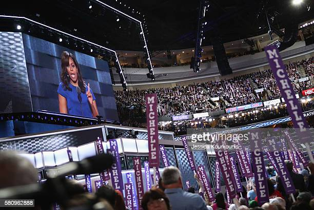First lady Michelle Obama delivers remarks on the first day of the Democratic National Convention at the Wells Fargo Center July 25 2016 in...