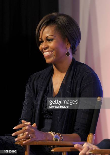 First Lady Michelle Obama discusses Joining Forces with Hollywood Trade Representatives at the Writers Guild Theatre on June 13 2011 in Beverly Hills...