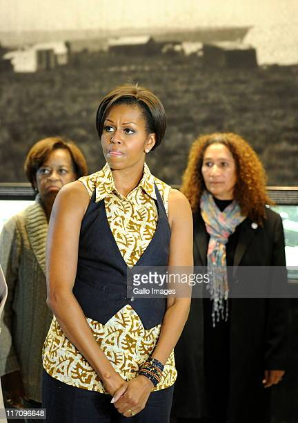 US First Lady Michelle Obama during a tour of the Apartheid Museum on June 21 2011 in Johannesburg South Africa The first lady along with her...