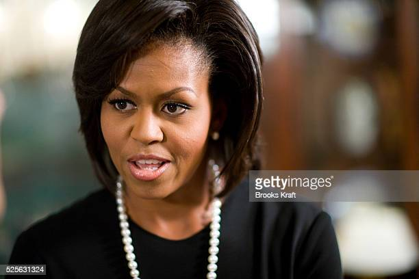 First lady Michelle Obama during an interview with Time Managing Editor Rick Stengel at the White House in Washington
