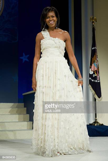 First Lady Michelle Obama during the Midatlantic Regional Inaugural Ball at the Washington Convention Center in Washington DC January 20 2009 Obama...