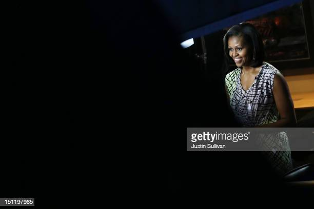 First lady Michelle Obama gives an interview during preparations for the Democratic National Convention at Time Warner Cable Arena on September 3,...