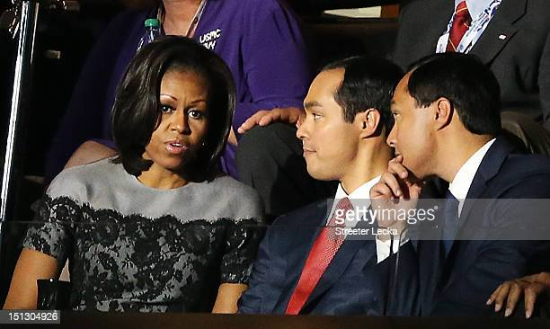 First lady Michelle Obama greets San Antonio Mayor Julian Castro and his brother Joaquin Castro during day two of the Democratic National Convention...